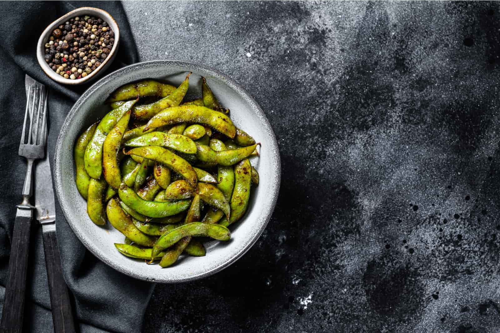 cooked edammame in a bowl