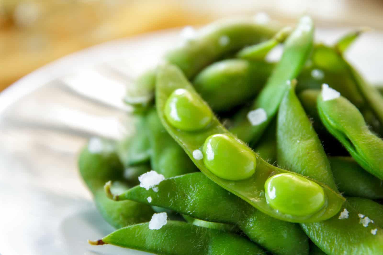 green fresh edamame in a bowl