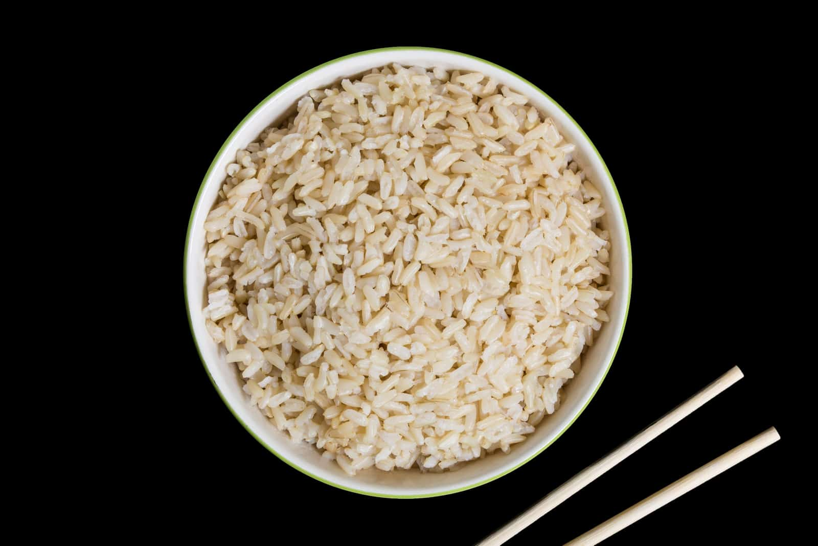 Brown Rice on Black Background