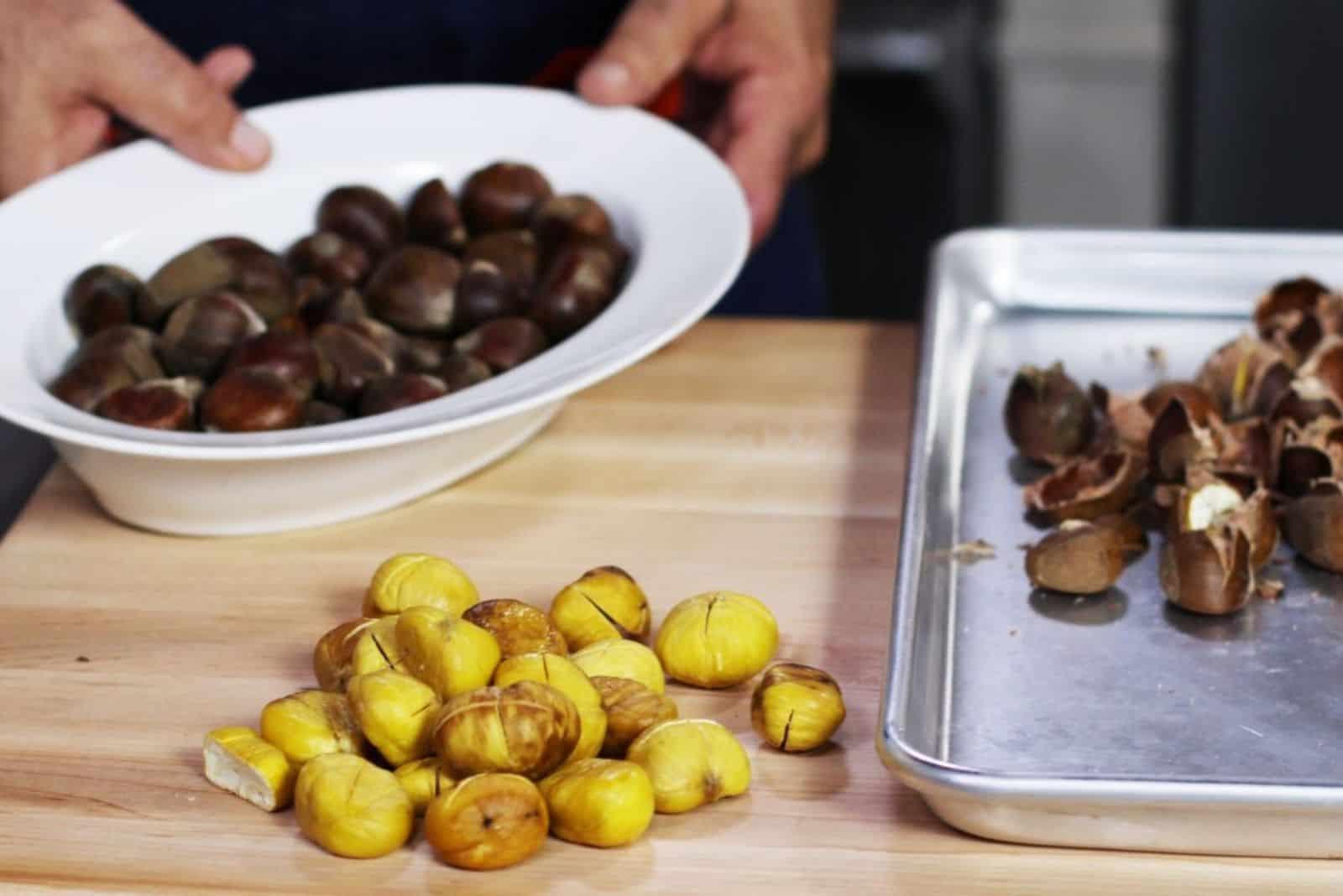 a person prepares a chestnut