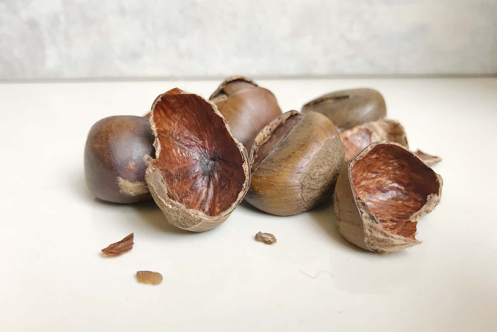 chestnut shells on the table