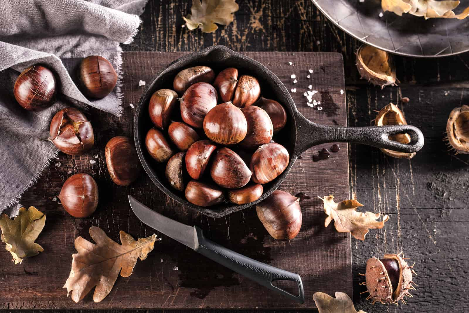 chestnut stands on the table in a bowl