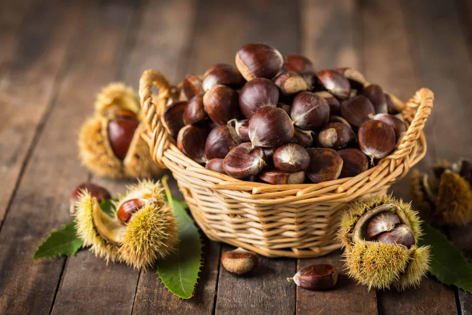 chestnuts in a wicker bowl