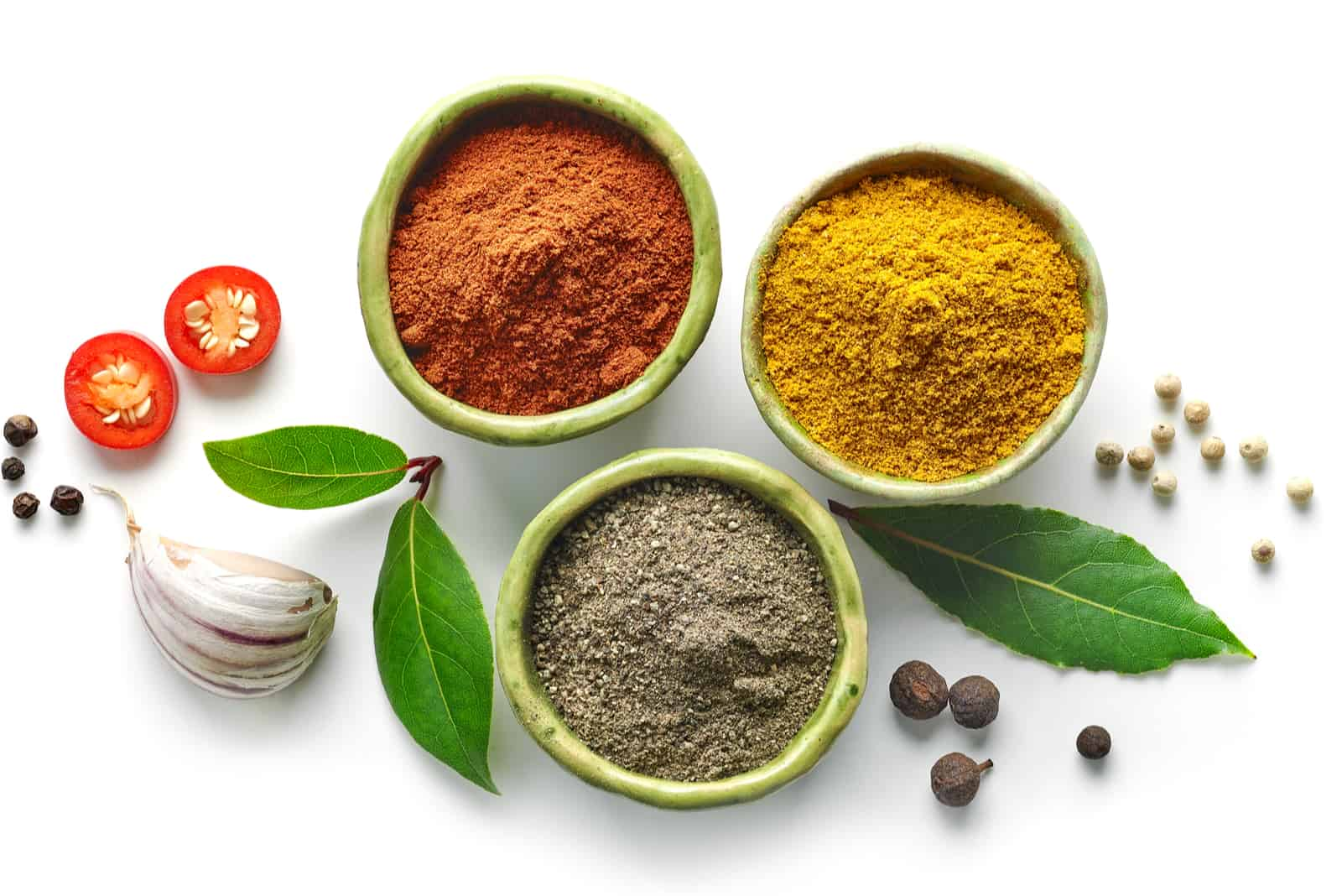 powdered spices in bowls