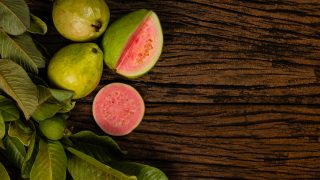 fresh guavas on the table