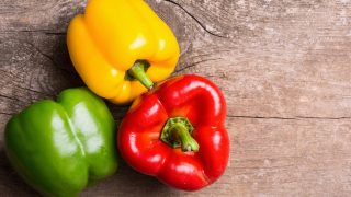Green , yellow and red bell pepper