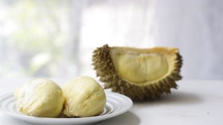 Durian on a white plate