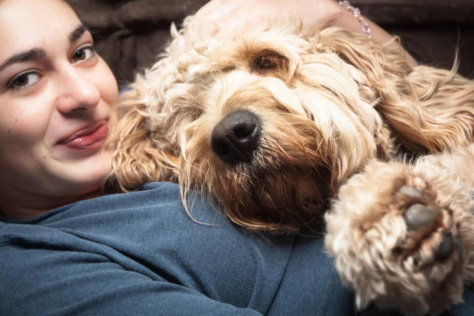 happy young woman cuddling with a standard goldendoodle