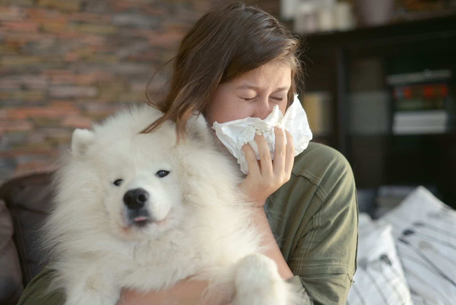 woman with allergies sneezing carrying a furry white dog